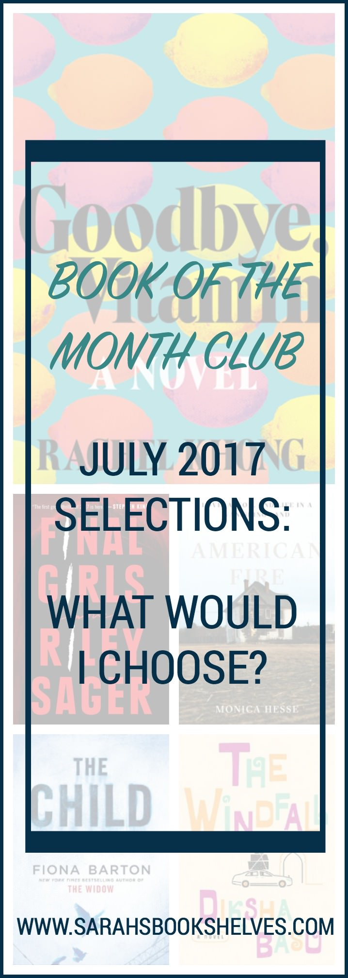 I've read 2 of the July 2017 Book of the Month Club Selections...one was a winner and one not so much! There are also 2 other selections I'm super excited to read! It's a good month to sign up!