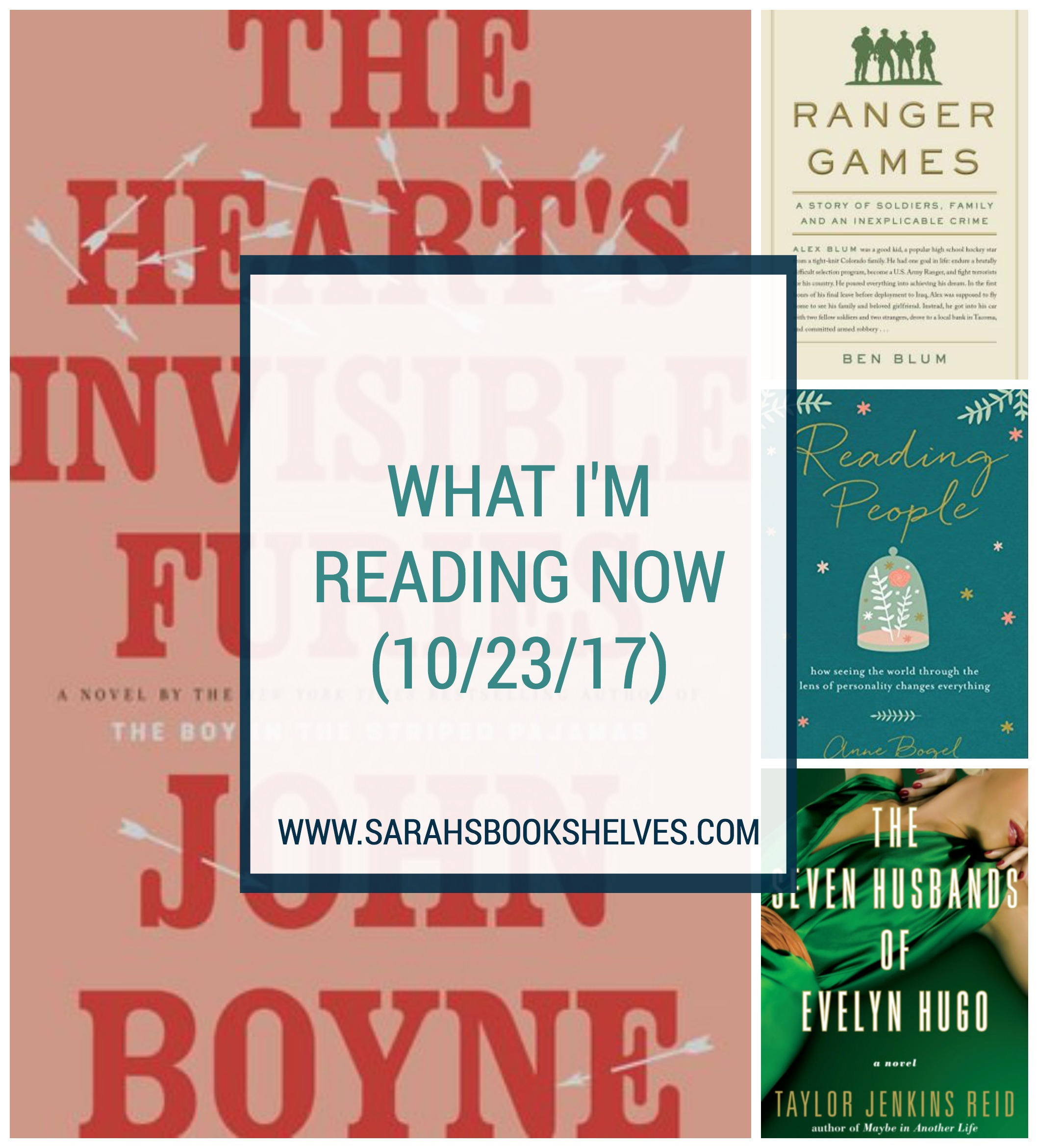 What I'm Reading Now (10/23/17): Finally! I found the long, immersive novel I've been looking for (The Heart's Invisible Furies) and it's one of my favorites of this year! I also finished Ranger Games and Reading People on audio (@modernmrsdarcy) and started The Seven Husbands of Evelyn Hugo. #reading #book #bookish #bookworms #booklovers