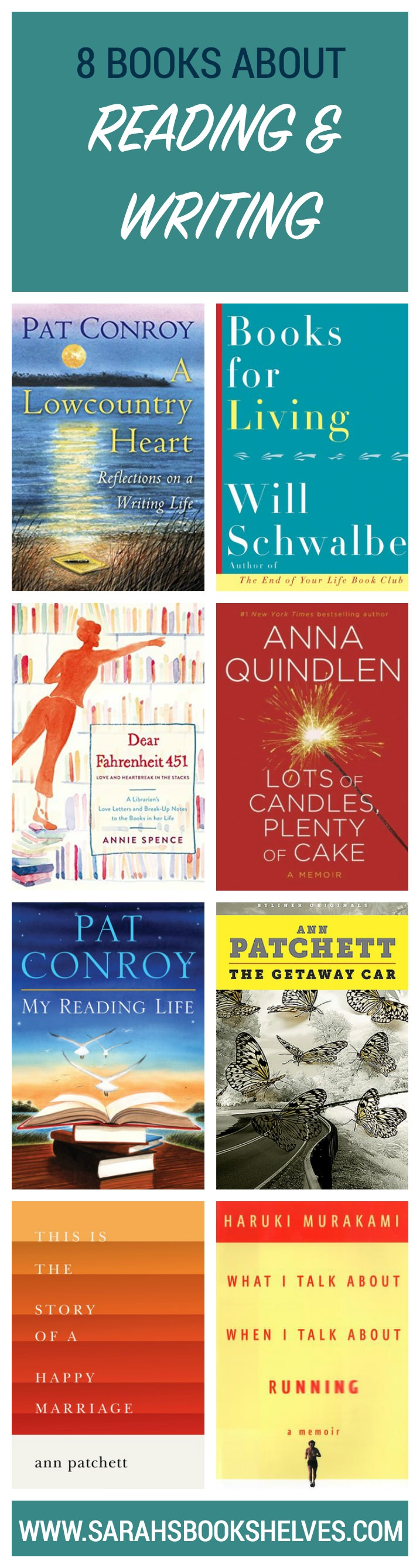 Some of my very favorite authors (Pat Conroy, Anna Quindlen, Ann Patchett) are on this list of books about the reading and writing life. #reading #book #bookish #bookworms #booklovers #booklist