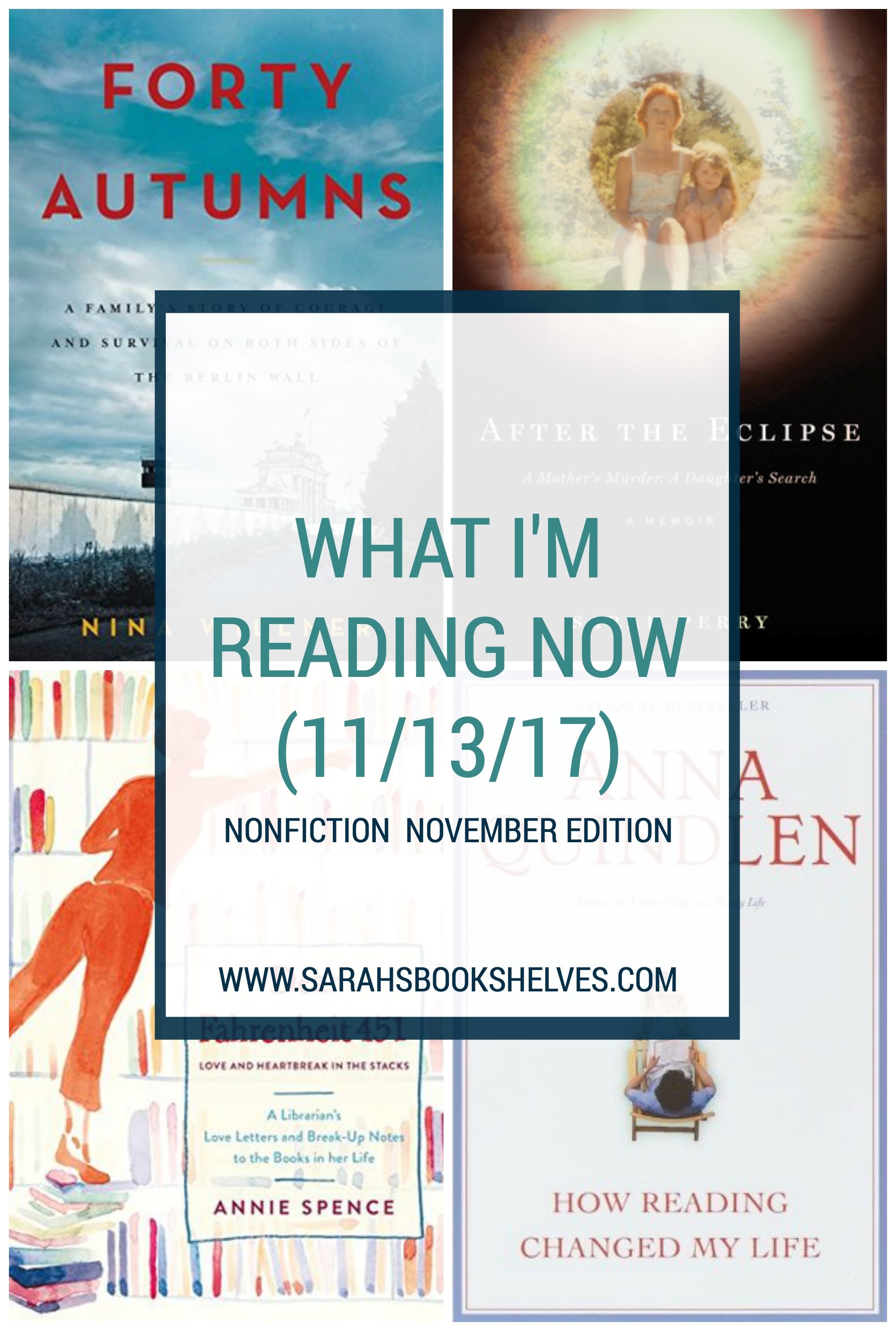 What I'm Reading Now (11/13/17): I'm reading all nonfiction for #nonficnov...on Cold War era East Germany, true crime, and books and reading. #reading #book #bookish #bookworms #booklovers #booklist #readinglist