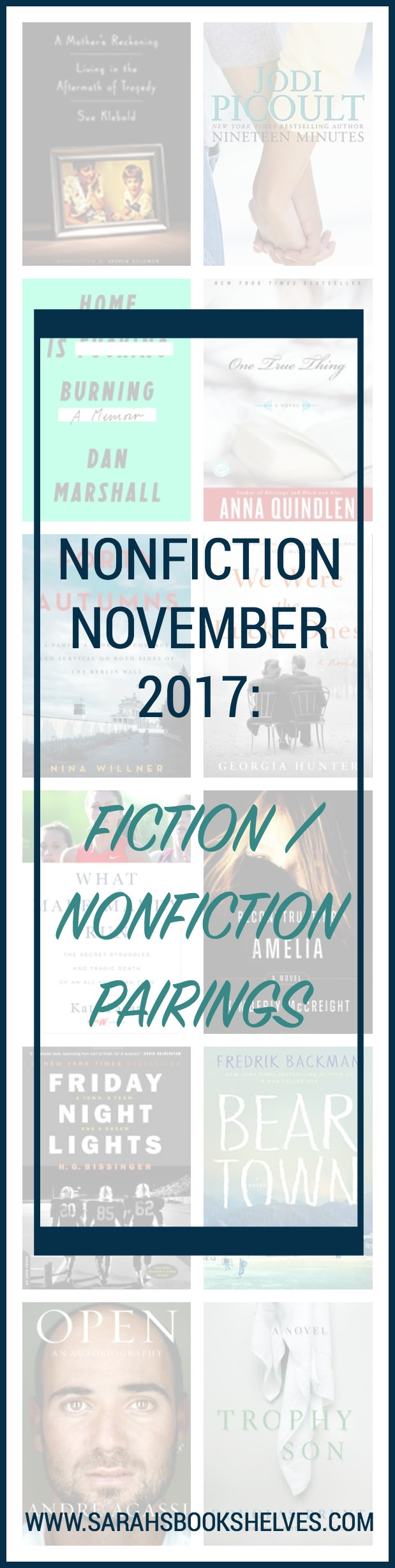 Nonfiction November 2017: My favorite fiction nonfiction pairings of 2017...including caring for ill parents, pro tennis, the intensity of youth sports and more. #reading #book #bookish #bookworms #booklovers #booklist #nonfiction