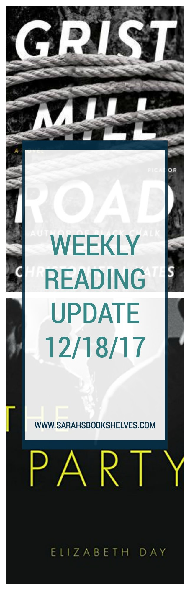 Weekly Reading Update (12/18/17): I'm alternating between 2018 releases and backlists or library books. Grist Mill Road was a page-turning start to 2018 books and The Party was decent, but didn't not particularly memorable.