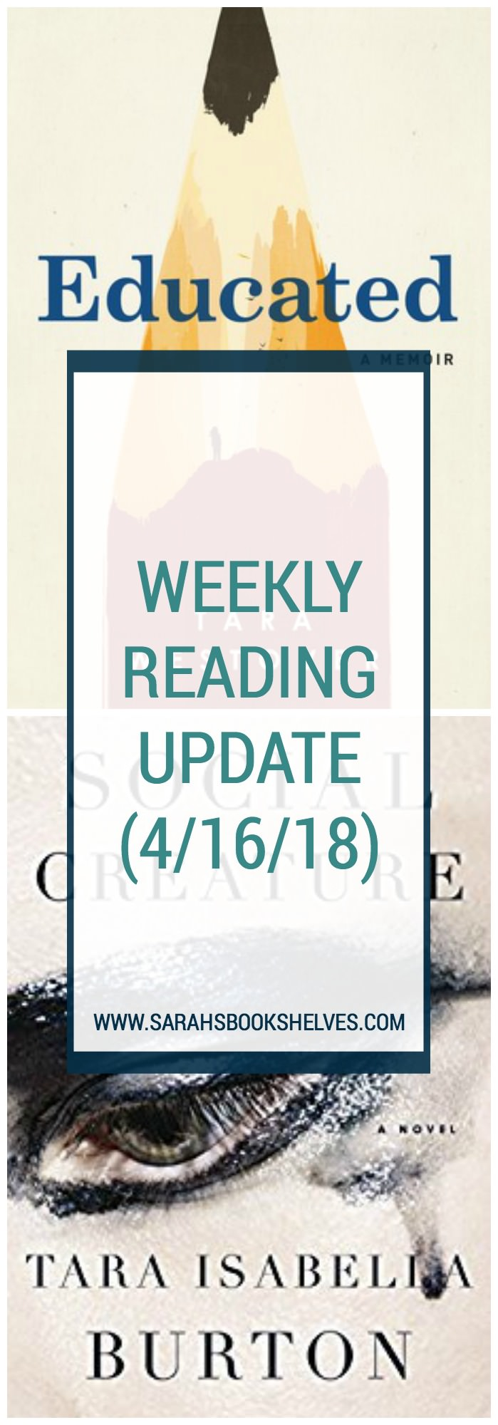 Weekly Reading Update (4/16/18): I finished the excellent memoir, Educated, and am currently completely unsure what I think about Social Creature, out on June 5. Books to Read | Books for Women | Book Lovers | Reading List #reading #book #bookish #bookworms #booklovers #booklist